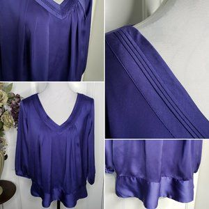 Ann Taylor Petite Deep Purple Drop Waist Blouse